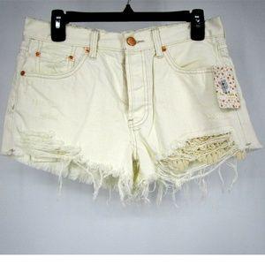 Free People Cut off Denim Shorts White Sz 28 3241